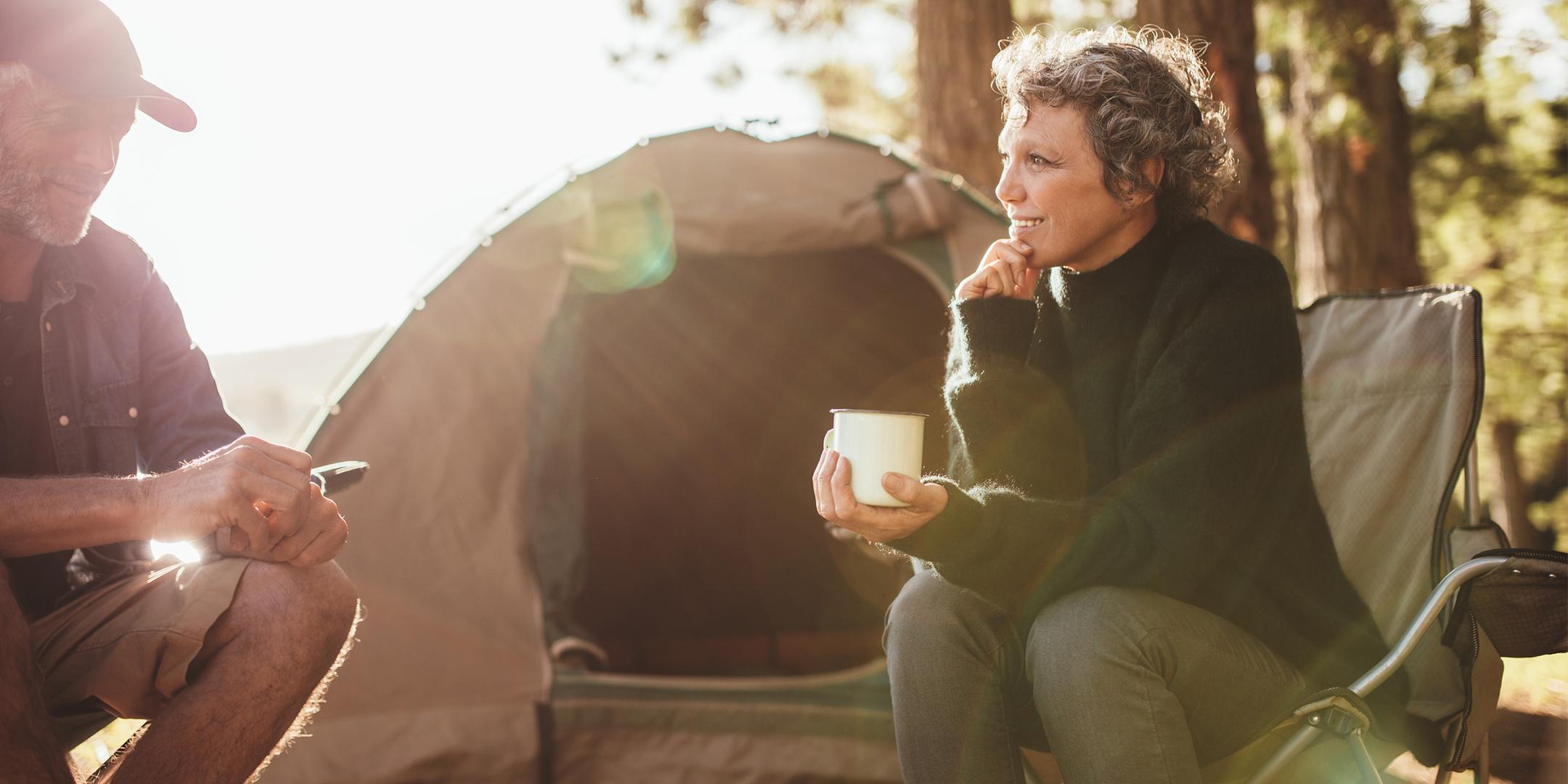 woman and man camping