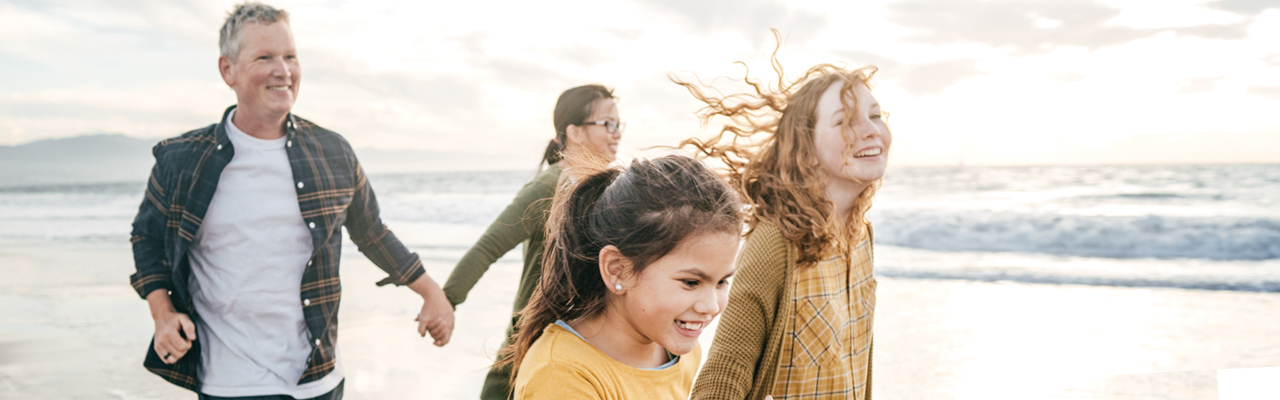 Mixed Race Family on Beach