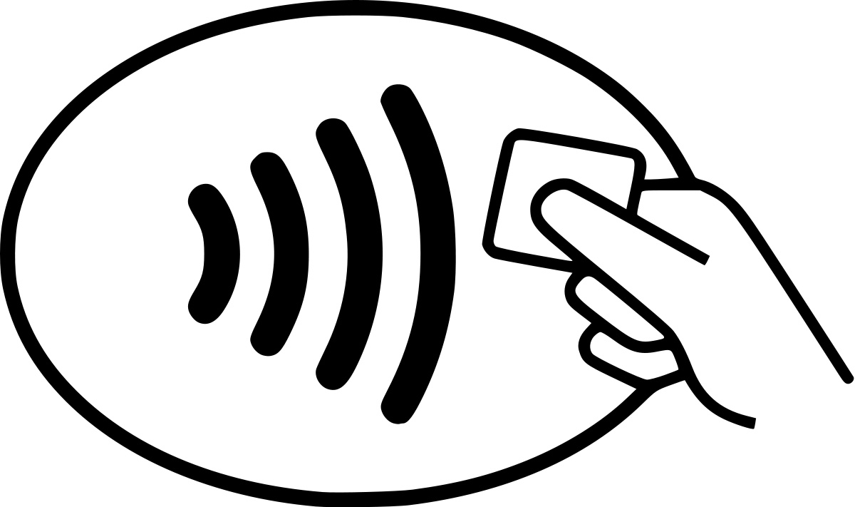 line art of wifi symbol in oval with hand holding a square chip nearby