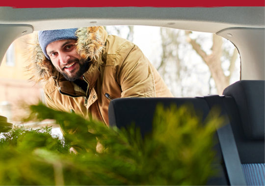 man in winter coat sliding fir tree into car