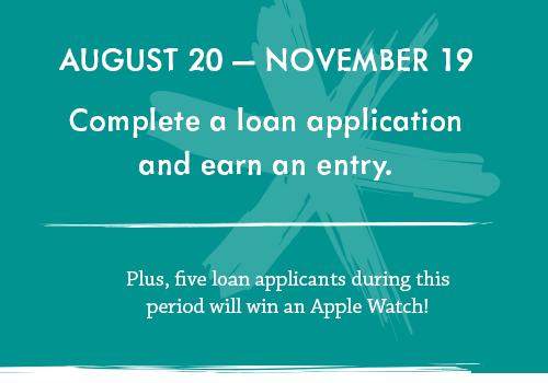 Complete a loan application, earn an entry