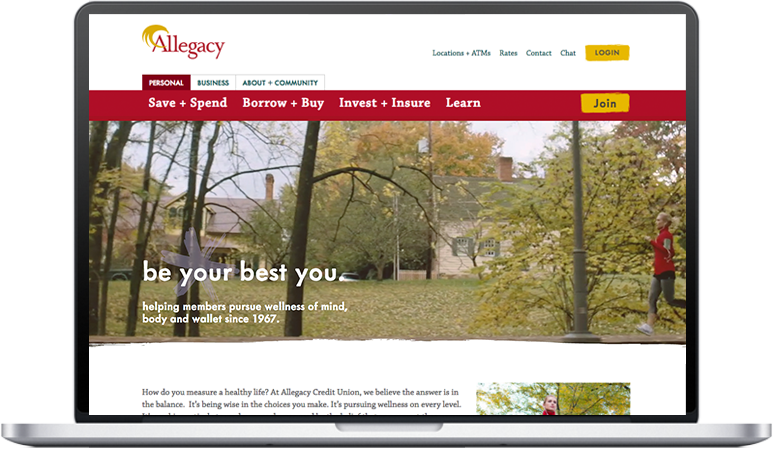 Screenshot of new Allegacy homepage